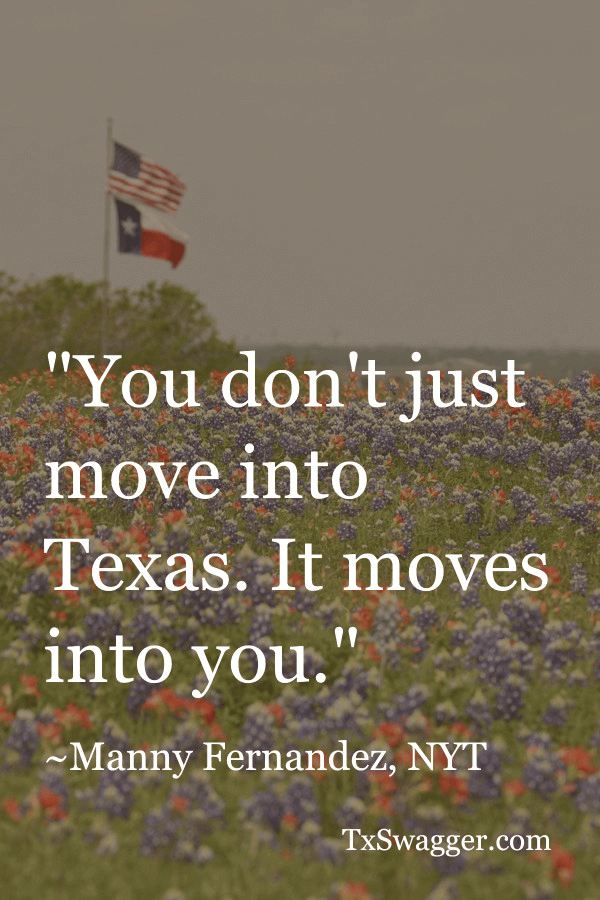 Texas quote overlaid on field of wildflowers with Texas and US flags flying above it