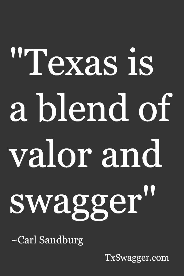 Quote: 'Texas is a blend of valor and swagger' overlaid on Texas flag