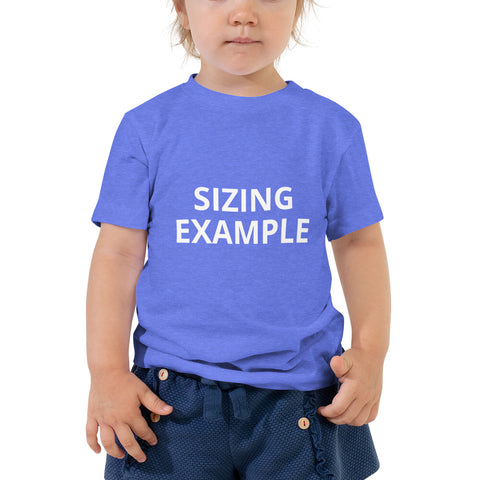 sizing guide blue shirt on toddler
