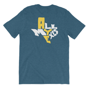 """All my exes"" shaped to fit the shape of Texas, on a blue shirt"