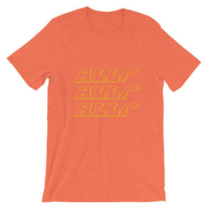 alright alright alright t-shirt, orange, with arrows to the right