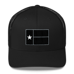 Black Texas flag design on black hat