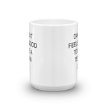 coffee mug with parts of written Texas design on each side shown