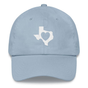heart in Texas on light blue dad hat