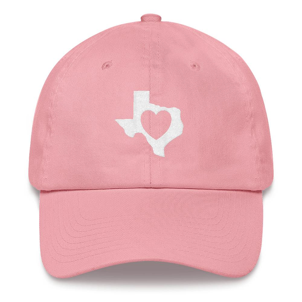 heart in Texas on light pink dad hat