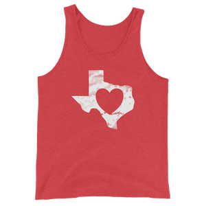 Heart shape inside texas shape on red tank top