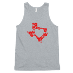 heart shape inside Texas shape on gray tank top