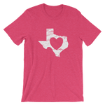 heart shape inside white Texas shape on raspberry-colored shirt