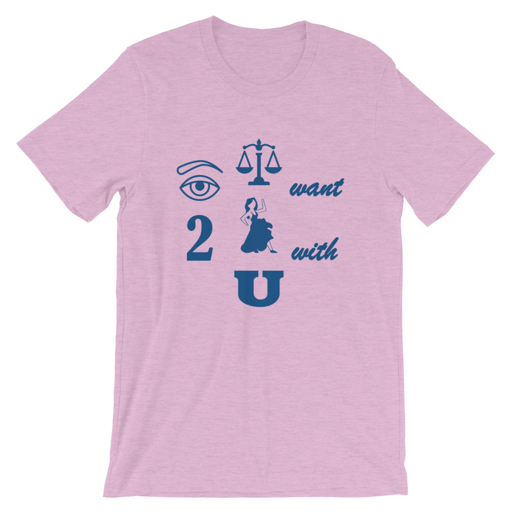 Pictograph reads: 'eye just want 2 dance with u' on lilac shirt