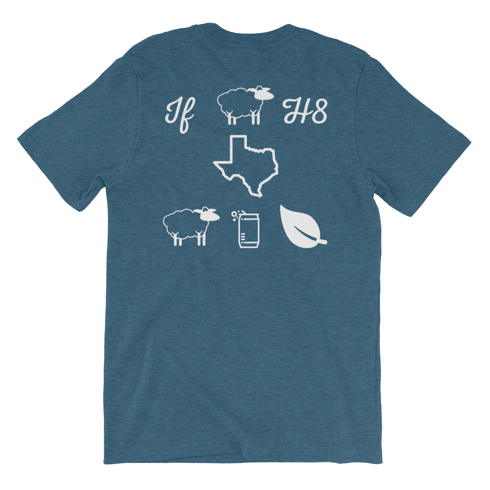 Pictograph reads: 'if ewe h8 Texas ewe can leaf' on blue shirt