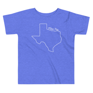 Texas outline with 'mini tex' above it on blue toddler shirt