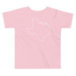 Texas outline with 'Mini Tex' above it on toddler t-shirt