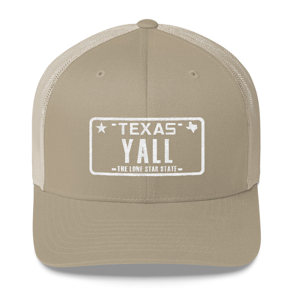 Yall Texas Plate Trucker Hat - Orange & Tan