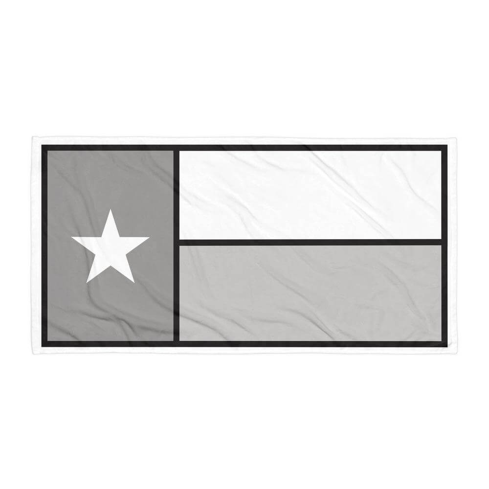 Texas flag towel in greyscale