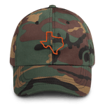 Texas outline on camouflage hat