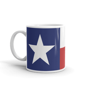 Coffee mug with Texas flag print showing handle