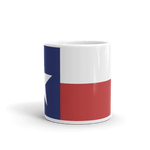 coffee mug with Texas flag print