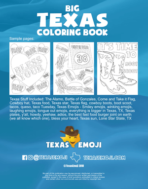 Texas coloring book, back cover. Shows drawings that are inside