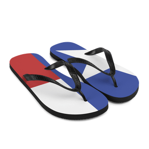 Texas flag flip flops from right front