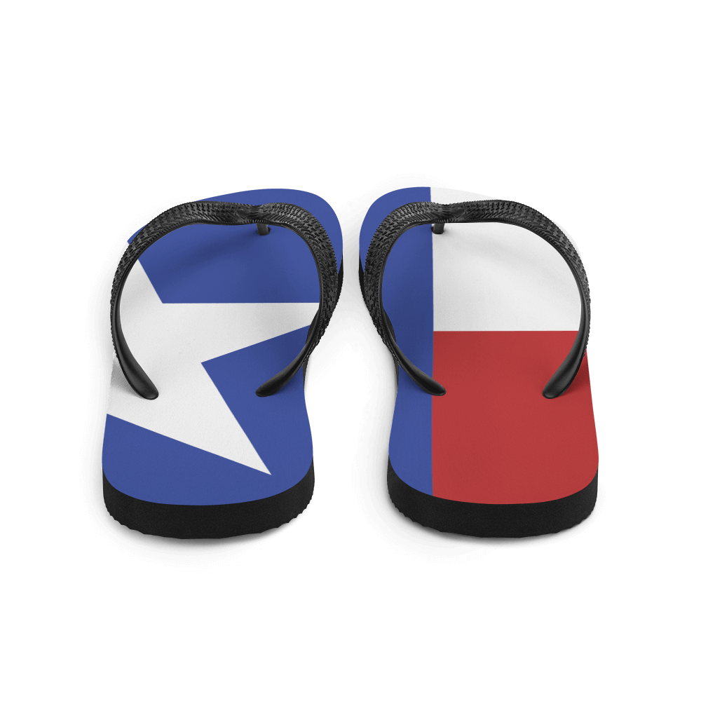 Texas flag flip flops from behind