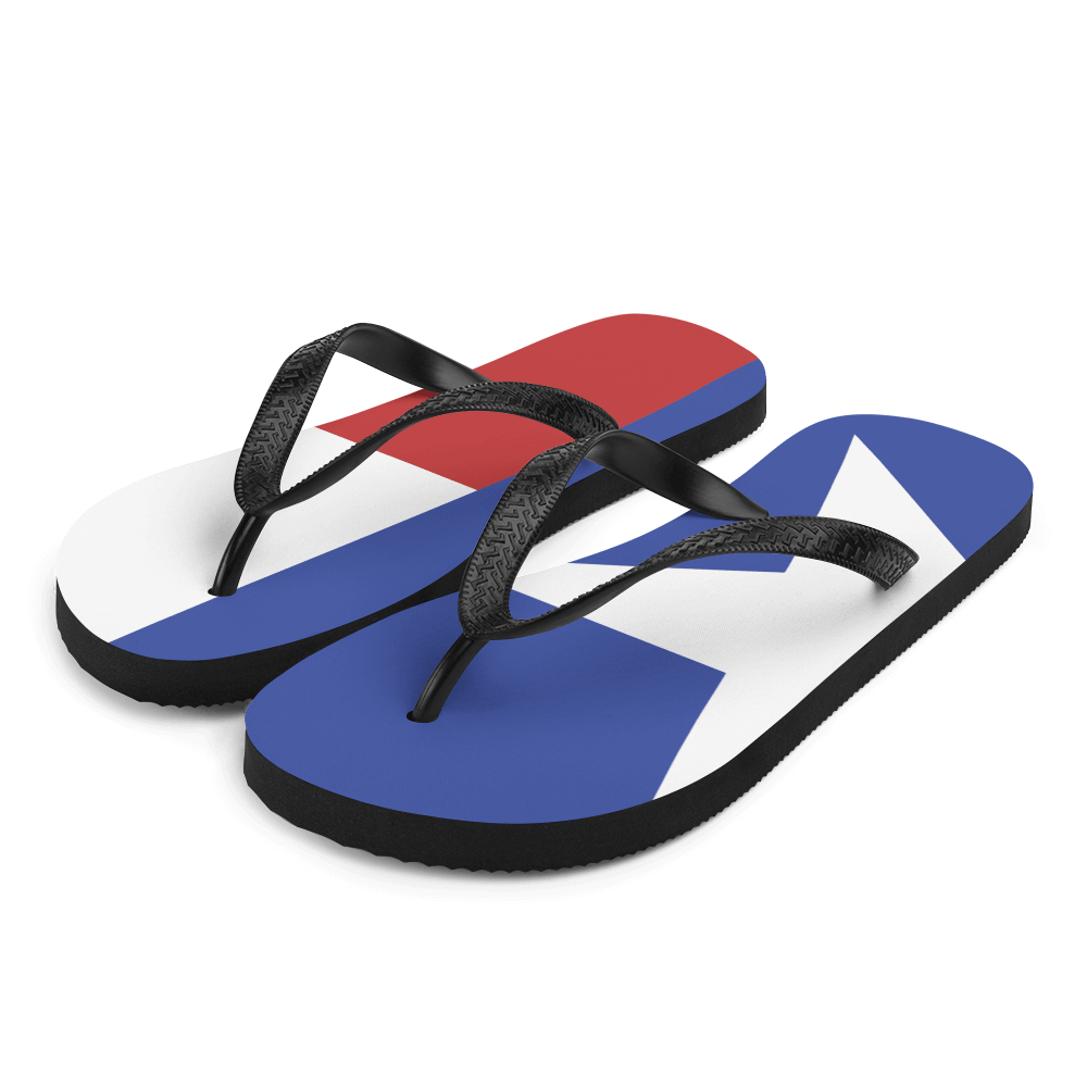 Texas flag flip flops from left front