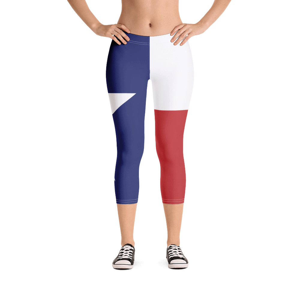 Texas flag leggings on lady, below torso, from front
