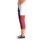 Texas flag leggings on lady, below torso, from left