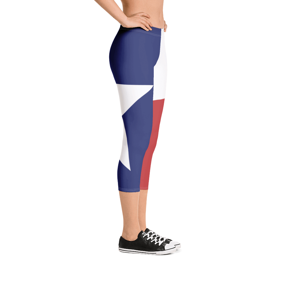 Texas flag leggings on lady, below torso, from right