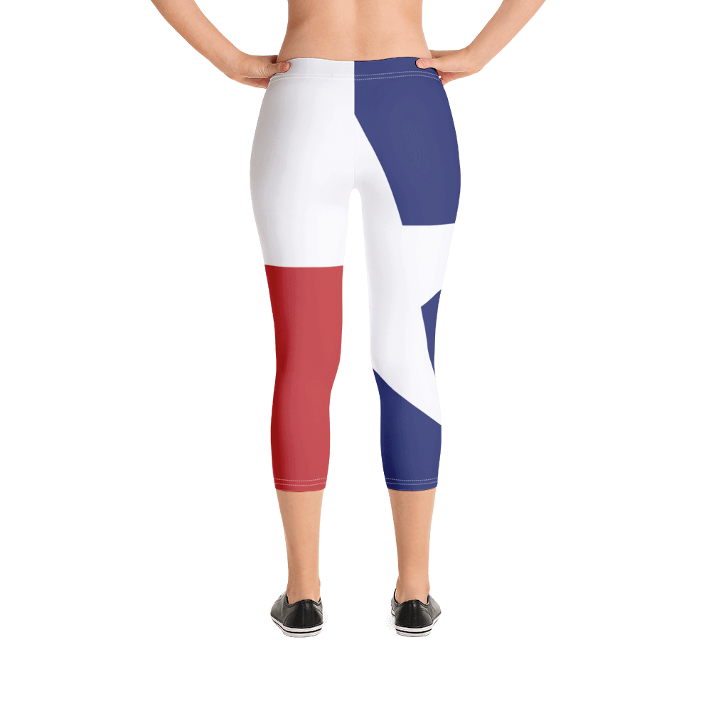 Texas flag leggings on lady, below torso, from rear