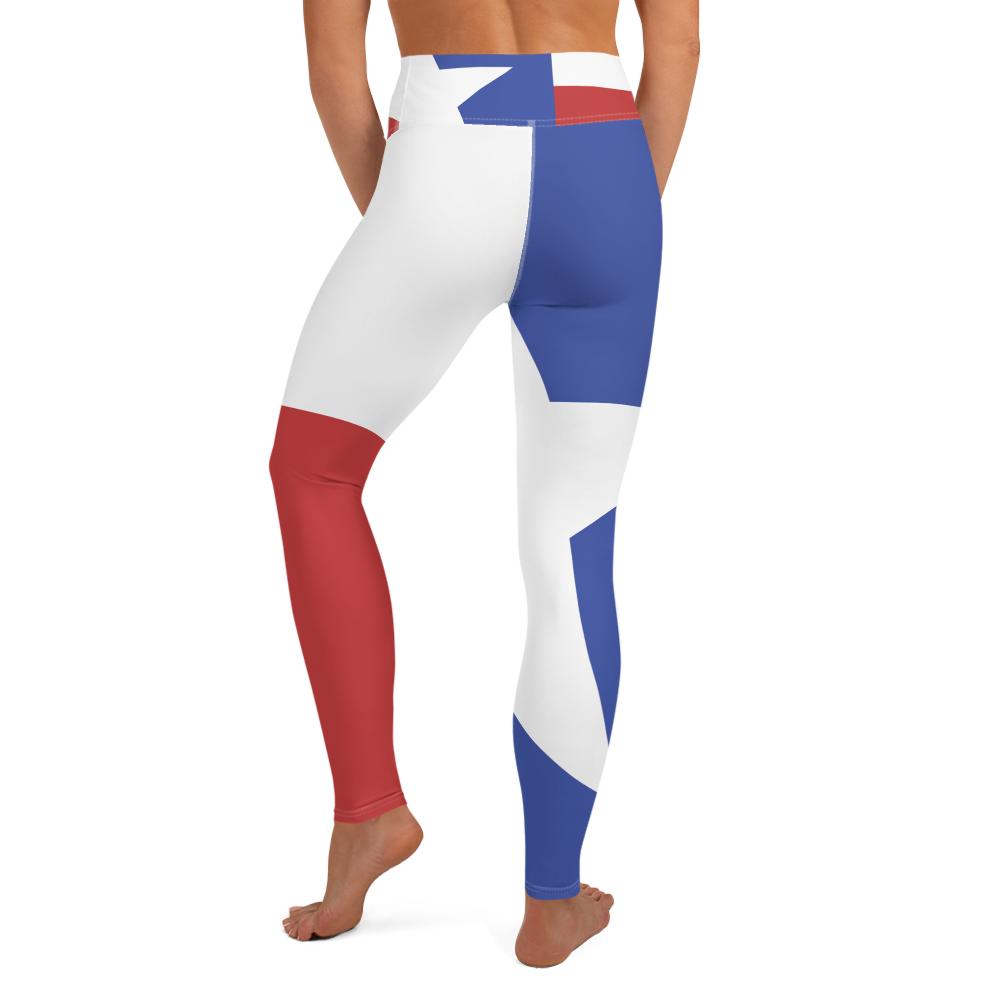 Texas flag pattern on yoga pants, on model below torso