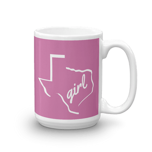 15oz coffee mug with Texas girl design, white on dark pink