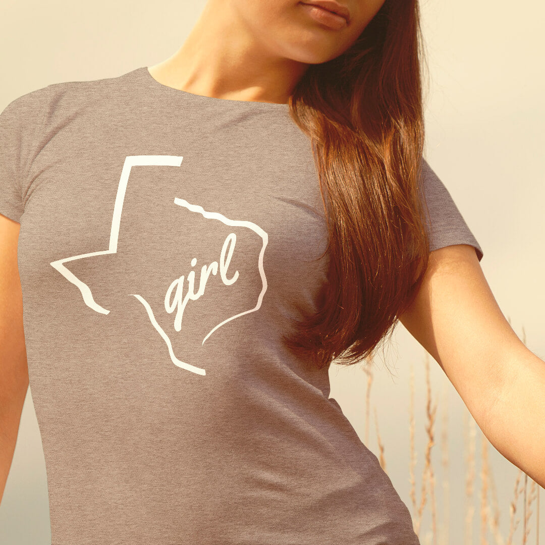 Texas girl shirt on female model