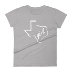 "Texas girl shirt. Texas outline with ""girl"" inside on grey shirt"