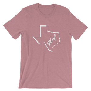 "Texas outline with ""girl"" inside, on orchid colored t-shirt"