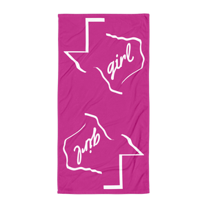 Texas outline with 'girl' inside it, on pink towel