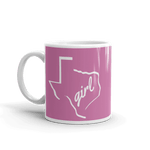 11oz coffee mug with Texas girl design, white on dark pink
