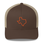 orange Texas outline on brown trucker hat