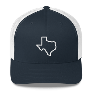 White texas outline on blue trucker hat