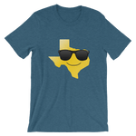 yellow Texas shape with smiley face and black sunglasses