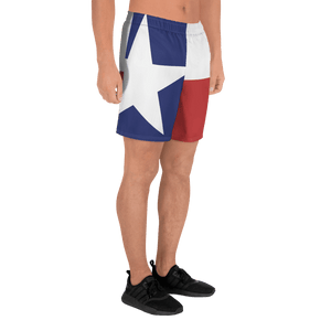 Texas flag pattern shorts on male model below torso, from right