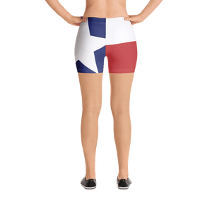 Texas flag pattern shorts on a model below torso, from rear