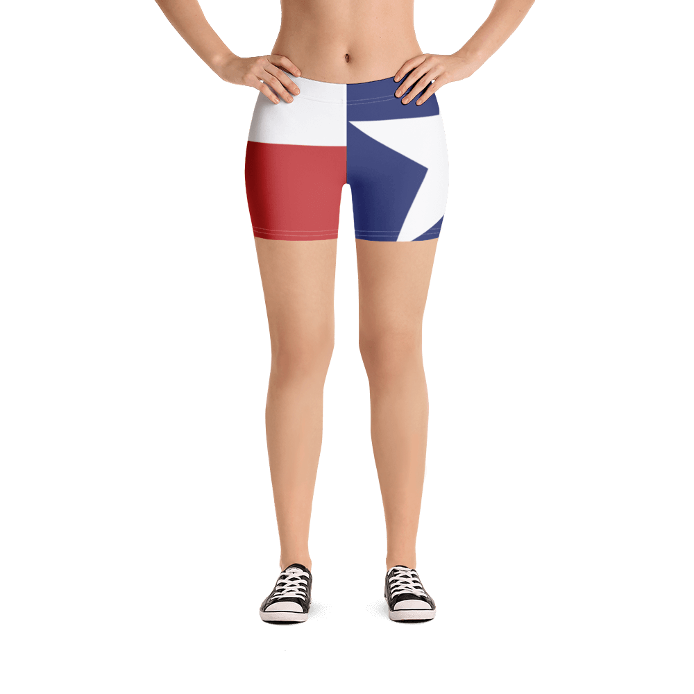 Texas flag pattern shorts on a model below torso, from front