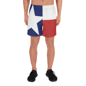 Texas flag pattern shorts on male model below torso, from front