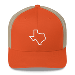 Texas outline on orange trucker hat