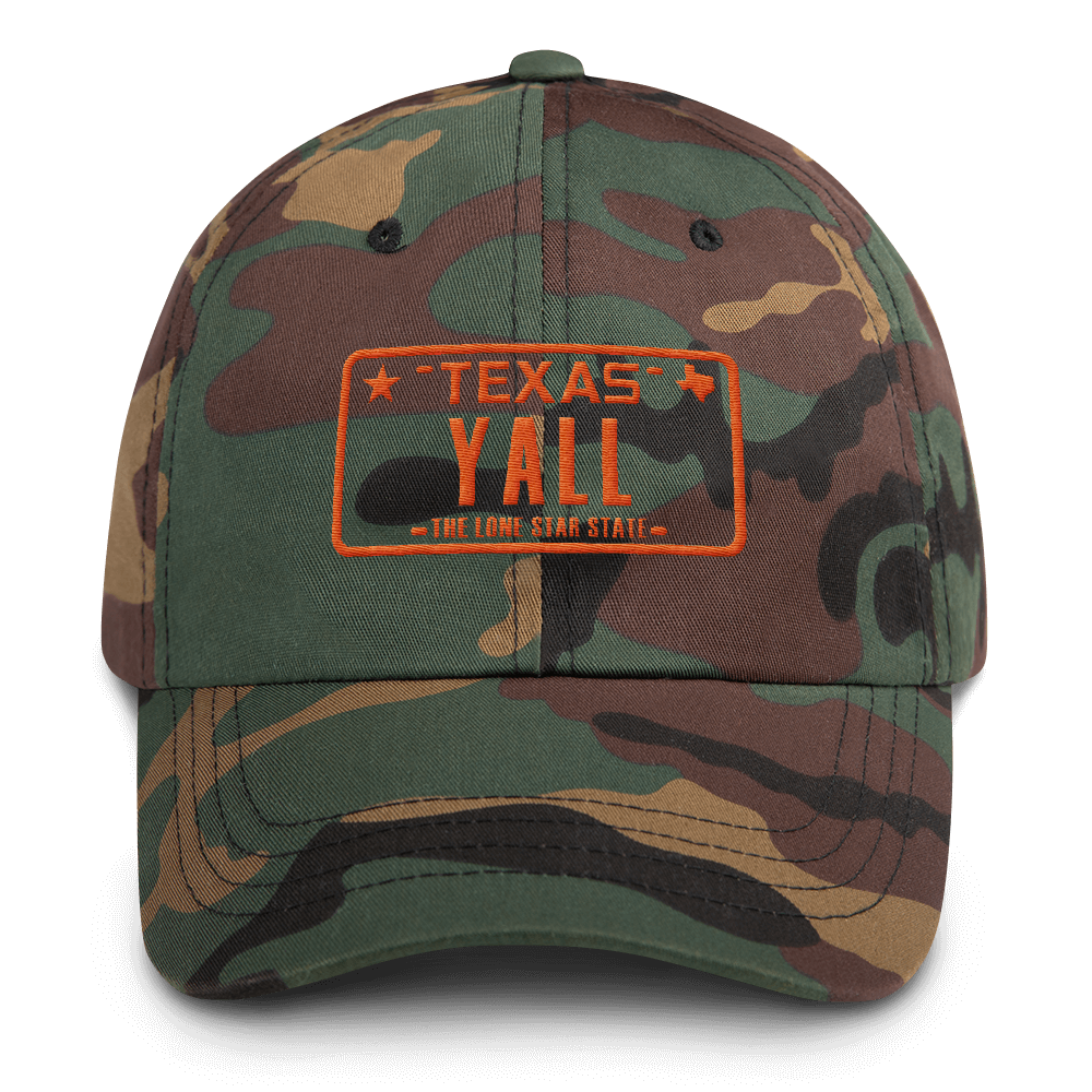 Texas y'all design on camouflage hat