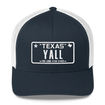 Texas Y'all license plate design on blue trucker hat