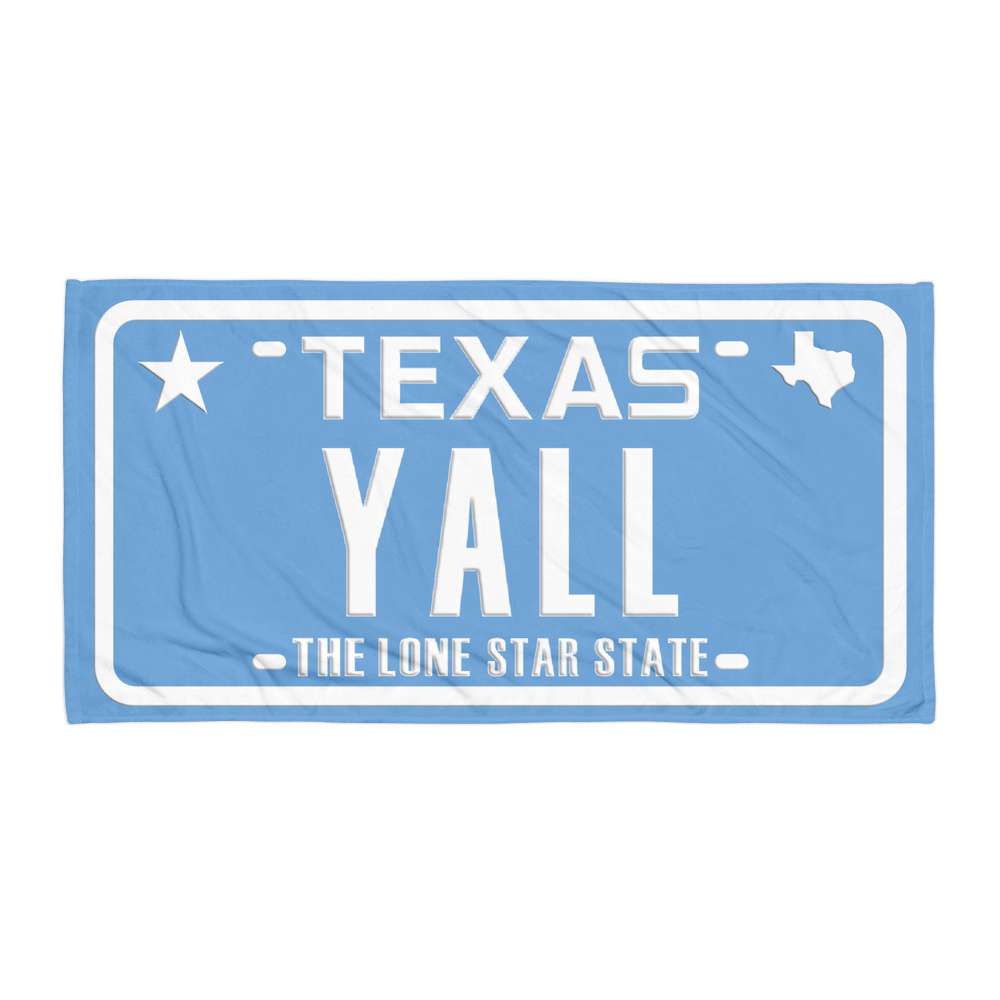 Texas YALL license plate design on blue towel