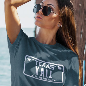 Texas yall shirt on female model