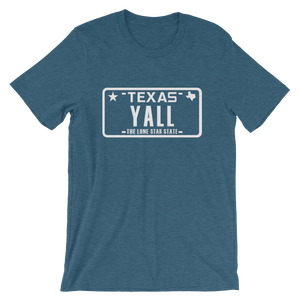 "Texas license plate ""YALL"" design on blue shirt"