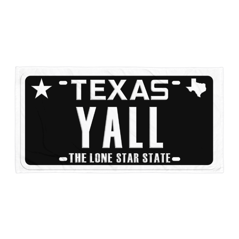 Texas YALL black license plate design on towel